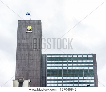 Montreal, Canada - May 26, 2017: Police Station Headquarters In City In Quebec Region During Rainy C
