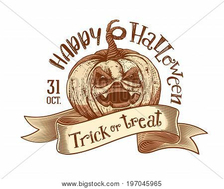 Trick or treat and Happy Halloweeen on engaved vintage tape with hand drawn pumpkin. Vector art. Unique design element for poster or banner. Halloween pumpkin and lettering. Sketch