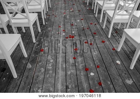 Wedding white chairs aisle with the red rose petals on the wooden floor