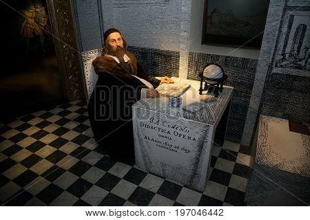 Prague, Czech republic, July 22, 2017: Jan Amos Komensky in Grevin museum of the wax figures in Prague.