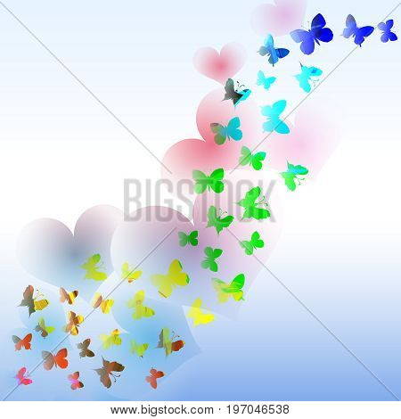 Abstract vector background with colorful butterfly and hearts in the wave form.