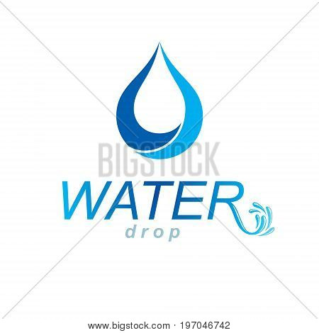 Vector blue clear water drop logotype for use as marketing design symbol. Environment conservation concept.