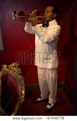 Prague, Czech republic, July 22, 2017: Louis Armstrong in Grevin museum of the wax figures in Prague.