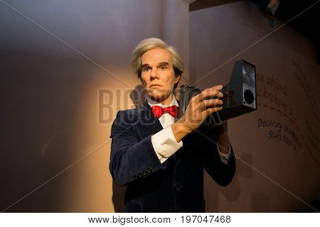 Prague, Czech republic, July 22, 2017: Andy Warhol in Grevin museum of the wax figures in Prague.