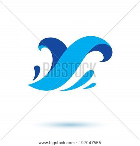 Ocean wave splash vector symbol for use in mineral water advertising. Environment protection concept.