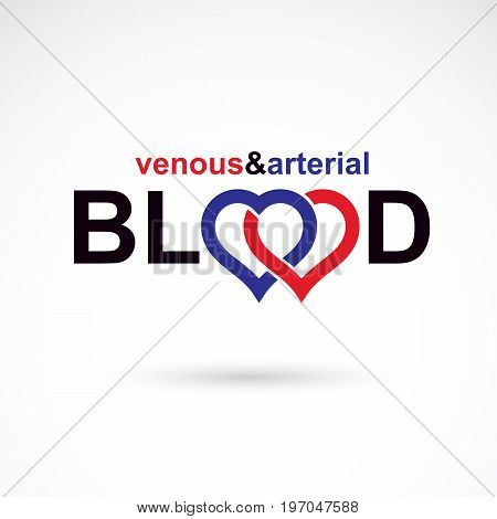 Arterial and venous blood blood circulation conceptual vector illustration. Cardiology medical care vector emblem for use in pharmacy.