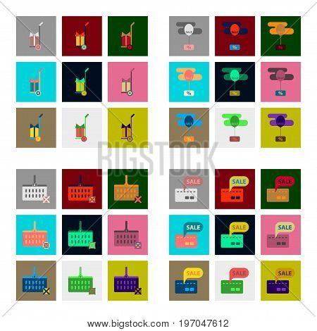 Flat assembly icons of Set gifts and discounts