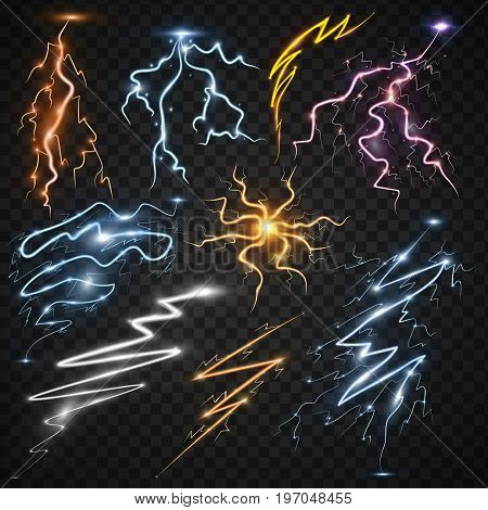 Power energy thunderbolt realistic lightnings with transparency for design thunder-storm magic and bright lighting effects vector illustration. Natural lightning bolt storm strike realistic 3d light poster