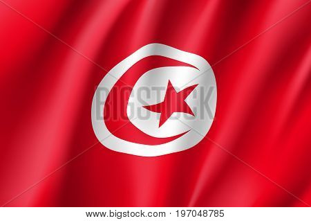 Tunisia flag. National patriotic symbol in official country colors. Illustration of Africa state waving flag. Realistic vector icon