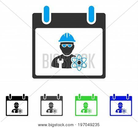 Atomic Engineer Calendar Day flat vector illustration. Colored atomic engineer calendar day gray, black, blue, green icon versions. Flat icon style for graphic design.