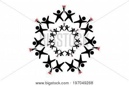 Vector logo of a set of black figures of little men located around in a circle with torches in their hands with the same circle of black men with torches inside on a white background.