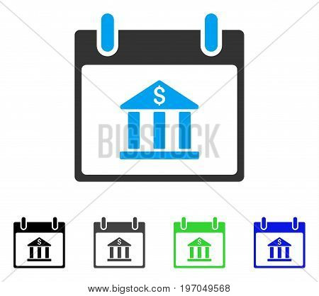 Bank Building Calendar Day flat vector icon. Colored bank building calendar day gray, black, blue, green icon variants. Flat icon style for web design.