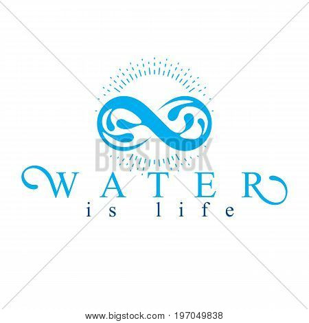 Mountain water spring conceptual logo limitless symbol. Water cleaning company conceptual emblem.