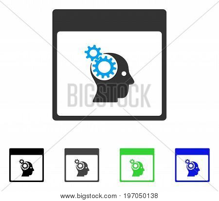 Brain Wheels Calendar Page flat vector pictograph. Colored brain wheels calendar page gray, black, blue, green pictogram versions. Flat icon style for graphic design.