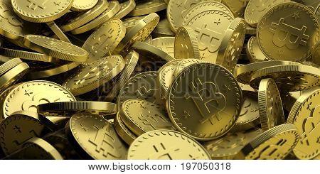 Golden Bitcoins Background. 3D Illustration