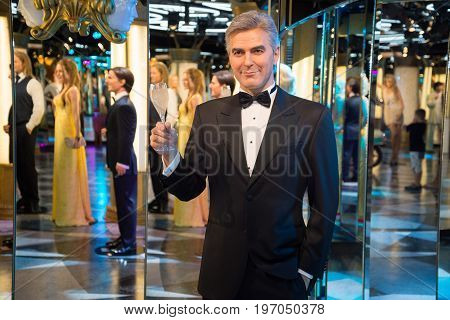 Prague, Czech republic, July 22, 2017: George Clooney in Grevin museum of the wax figures in Prague.