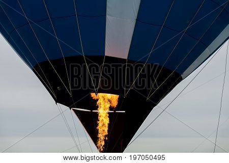 Close-up burning burner, flame of Hot air balloon with. For background , backdrop, substrate, composition use