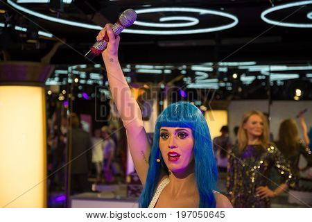 Prague, Czech republic, July 22, 2017: Katy Perry in Grevin museum of the wax figures in Prague.
