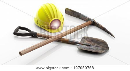 Miner's Helmet, Pickaxe And Shovel On White Background. 3D Illustration
