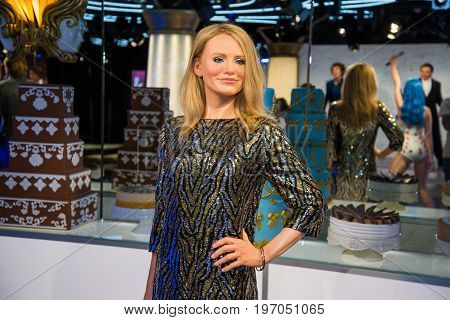 Prague, Czech republic, July 22, 2017: Cameron Diaz in Grevin museum of the wax figures in Prague.