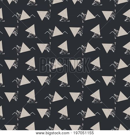 Geometric abstract triangle seamless dark gray vector texture. Stone marble and black geo vector background.