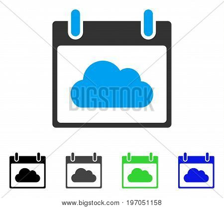 Cloud Calendar Day flat vector pictograph. Colored cloud calendar day gray, black, blue, green icon versions. Flat icon style for web design.