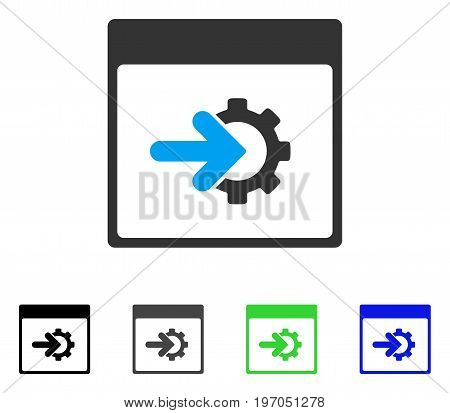 Cog Integration Calendar Page flat vector icon. Colored cog integration calendar page gray, black, blue, green pictogram variants. Flat icon style for web design.