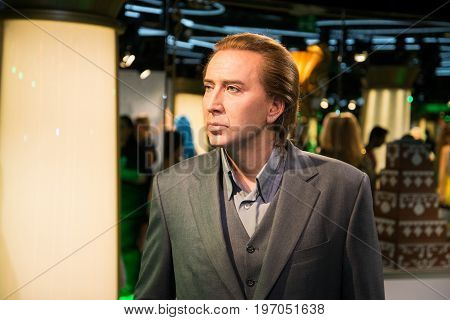 Prague, Czech republic, July 22, 2017: Nicolas Cage in Grevin museum of the wax figures in Prague.
