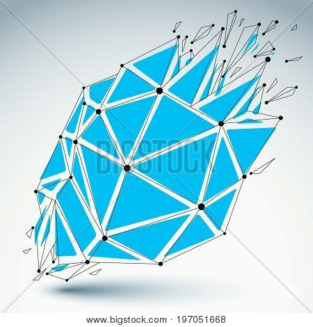 Perspective technology demolished shape with black lines and dots connected polygonal blue wireframe object. Explosion effect abstract faceted element cracked into multiple fragments.