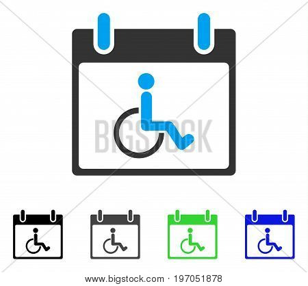 Disabled Person Calendar Day flat vector icon. Colored disabled person calendar day gray, black, blue, green icon versions. Flat icon style for web design.