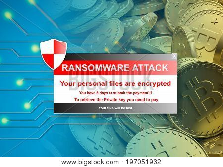Ransomware attack alert on a bitcoins background. 3d illustration