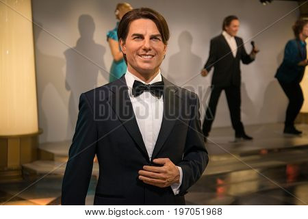 Prague, Czech republic, July 22, 2017: Tom Cruise in Grevin museum of the wax figures in Prague.