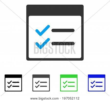 Done Items Calendar Page flat vector pictograph. Colored done items calendar page gray, black, blue, green pictogram variants. Flat icon style for web design.