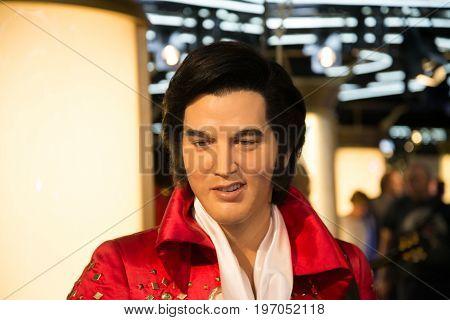 Prague, Czech republic, July 22, 2017: Elvis Presley in Grevin museum of the wax figures in Prague.