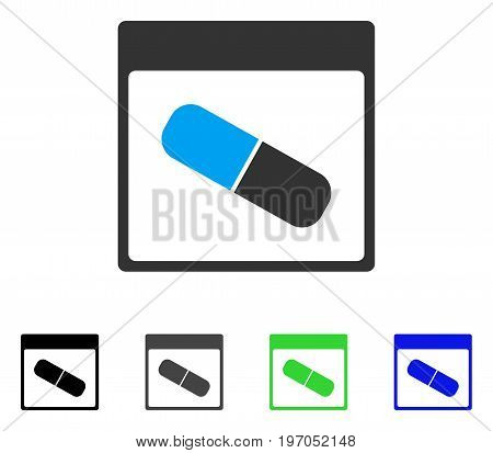 Drugs Capsule Calendar Page flat vector illustration. Colored drugs capsule calendar page gray, black, blue, green icon versions. Flat icon style for web design.
