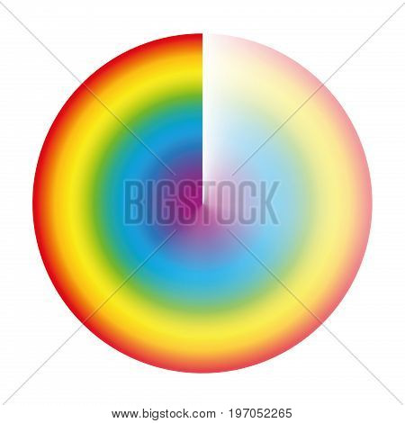 Rainbow colored preloader or buffer circle with gradient transparency to be used as rotating symbol while loading, downloading or streaming. Isolated vector illustration on white background.