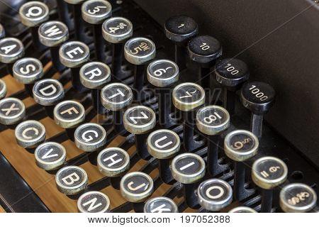 Keys of an old vintage mechanical typewriter