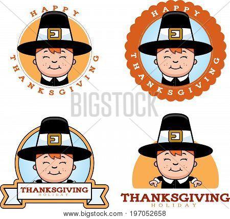 Cartoon Thanksgiving Pilgrim Boy Graphic