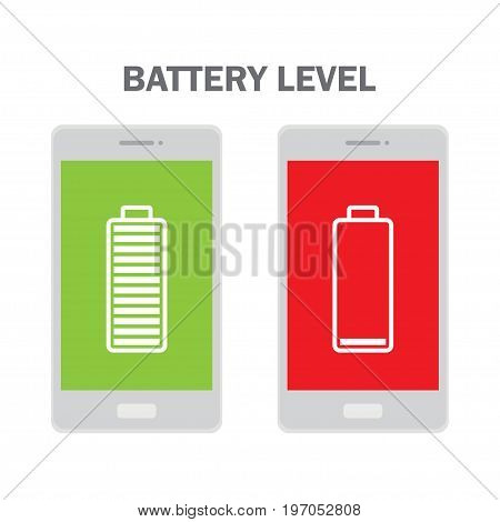 Full and Low battery level on a smartphone. Vector Illustration