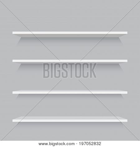 Empty shelf decorative wall interior. Vector illustration