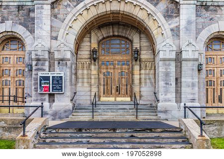 Montreal, Canada - May 27, 2017: St Denis Church On Street In Plateau Neighborhood In City In Quebec