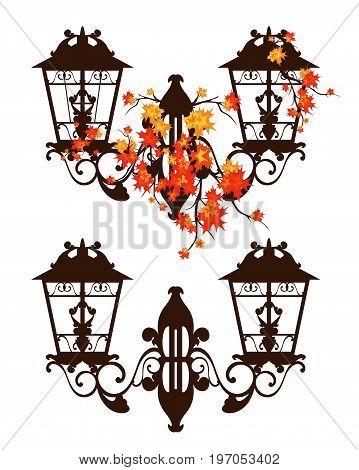 antique streetlamp among bright autumn maple foliage - fall season vector design
