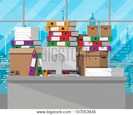 Pile of paper documents and file folders on office table. Carton boxes. Bureaucracy, paperwork, office. Cityscape. Vector illustration in flat style