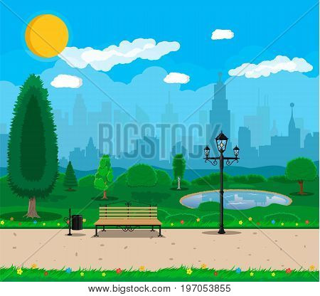City park concept, wooden bench, street lamp, waste bin in square. Cityscape with buildings and trees. Sky with clouds and sun. Leisure time in summer city park. Vector illustration in flat style
