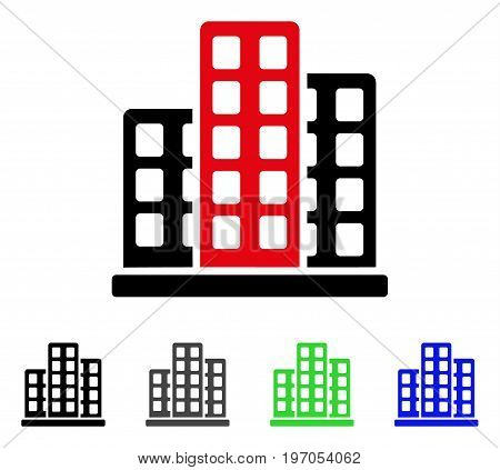 City flat vector illustration. Colored city gray, black, blue, green pictogram versions. Flat icon style for application design.