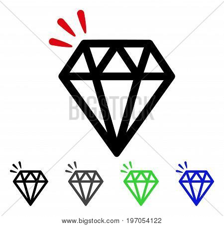 Diamond Crystal flat vector icon. Colored diamond crystal gray, black, blue, green icon variants. Flat icon style for web design.