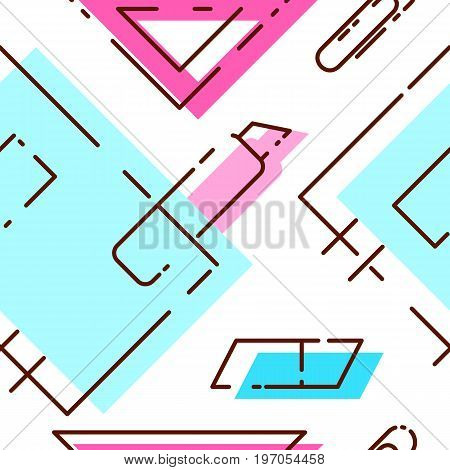 Bright pattern of stationery. Seamless pattern with notebook ruler stationery knife eraser. pattern in pastel shades.