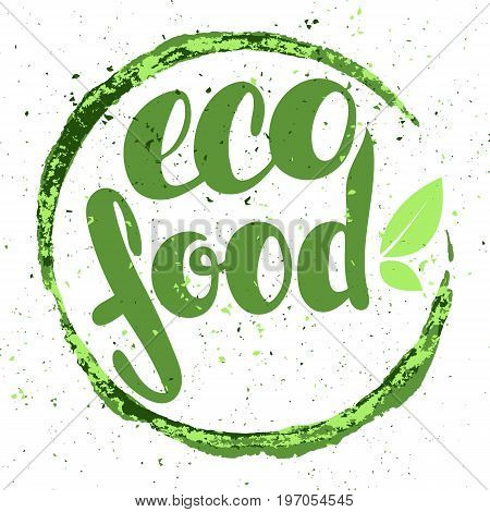 Logo eco food with leaves natural product organic healthy food. Organic food badge in vector (cosmetic food). Lettering eco food