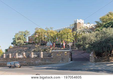WINDHOEK NAMIBIA - JUNE 16 2017: Hotel Heinitzburg built in 1914 is one of three castles in Windhoek the capital city of Namibia