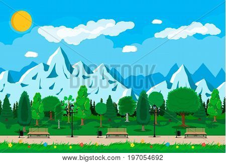 Mountain park concept, wooden bench, street lamp, waste bin in square. Rocky mountains and trees. Sky with clouds and sun. Leisure time in summer park. Vector illustration in flat style